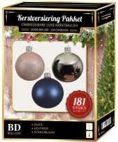 Zilveren roze blauwe kerstballen pakket 181 delig voor 210 cm boom
