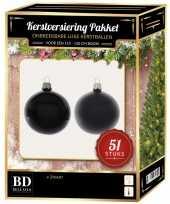 Zwarte kerstballen pakket 51 delig voor 120 cm boom