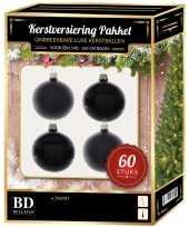 Zwarte kerstballen pakket 60 delig voor 150 cm boom