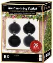 Zwarte kerstballen pakket 96 delig voor 180 cm boom