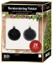 Zwarte kerstversiering kerstballen 24 delig 6 en 8 cm