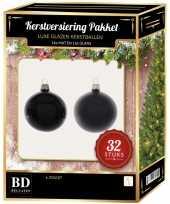 Zwarte kerstversiering kerstballen 32 delig 6 cm 8 cm 10 cm