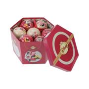 6x kunststof dennenappel kerstballen glitter oud roze 8 cm kerstboom